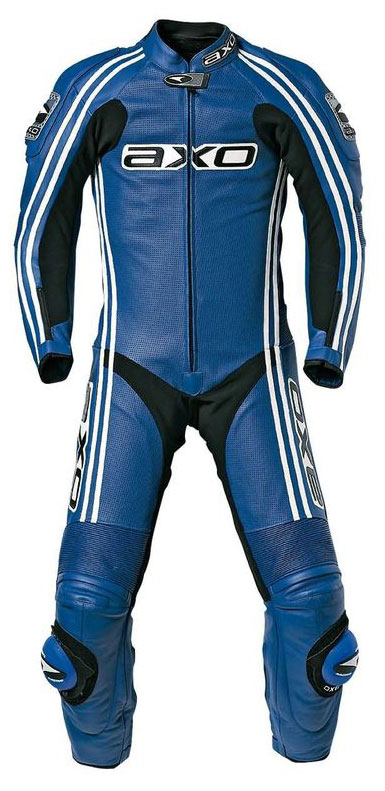 Jumpsuit AXO Bullet Long Cowhide leather perforated Blue