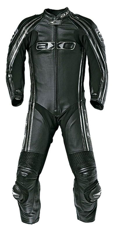 Jumpsuit Kangaroo perforated leather AXO Bullet Black