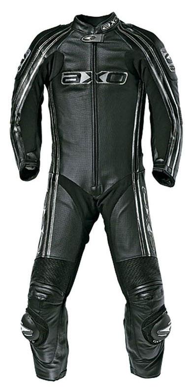 Jumpsuit Leather AXO Bullet Long Black Kangaroo perforated