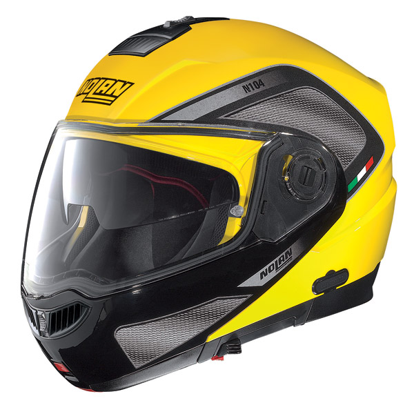 Motorcycle Helmet flip-up Nolan N104 Evo N-Com Tech yellow cab