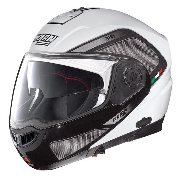 Casco moto modulare Nolan N104 Evo Tech N-Com bianco