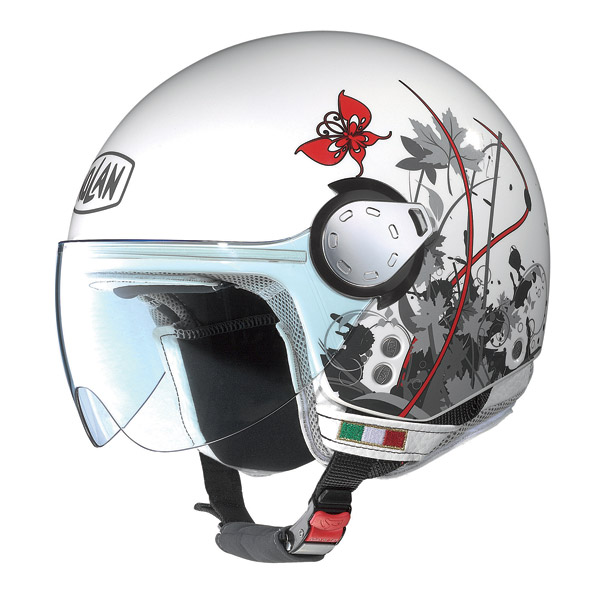 Casco moto Nolan N20 Traffic Leaves Plus metal white