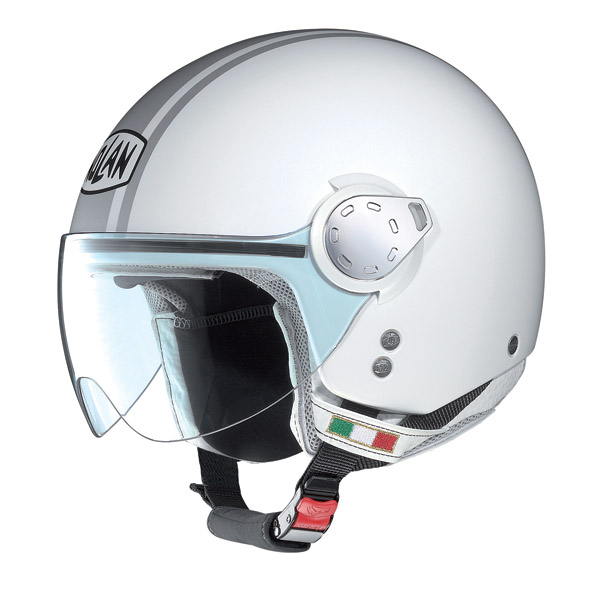 Nolan N20 Traffic Caribe Plus jet helmet metal white