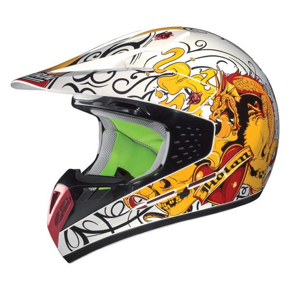 Casco moto cross Nolan N52 Dragon metal white