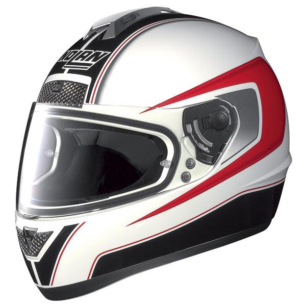 Casco moto Nolan N63 Outrun bianco-rosso