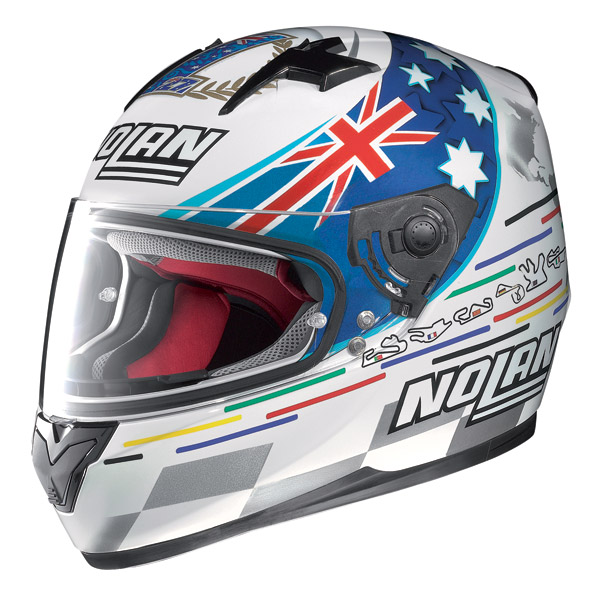 Casco integrale Nolan N64 Gemini Replica Stoner Tribute bianco