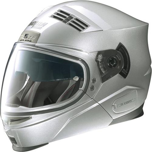 Casco moto Nolan N71 Classic silver mentoniera staccabile