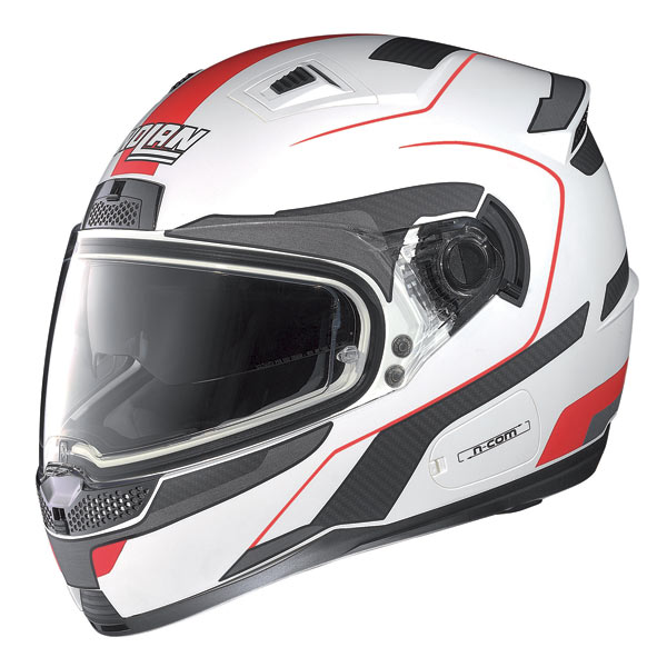 Casco moto Nolan N85 Virage N-com bianco-rosso