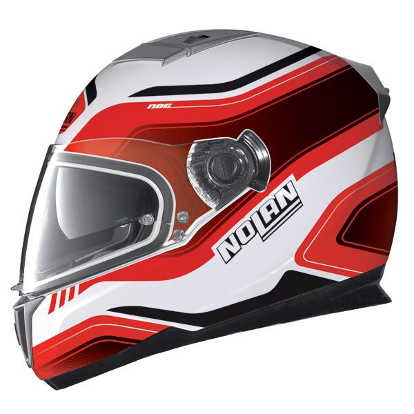 Nolan N86 Deep metal white-red full face helmet