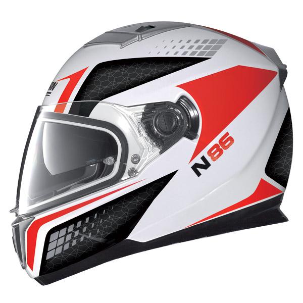 Casco moto Nolan N86 Burn Out metal white-rosso