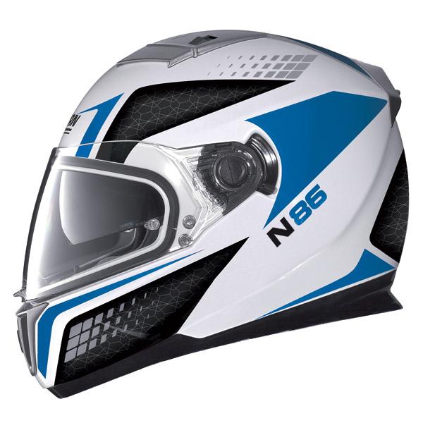 Nolan N86 Burn Out metal white-blue  full face helmet