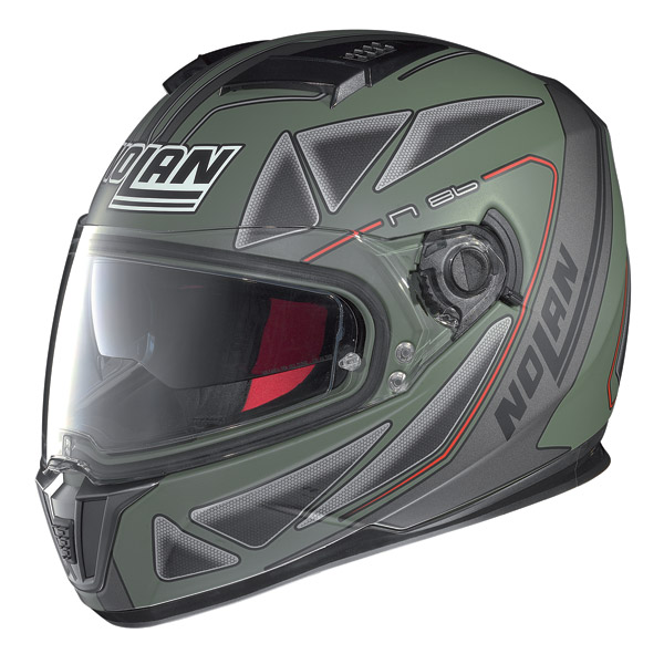 Casco moto integrale Nolan N86 Stealth verde militare opaco