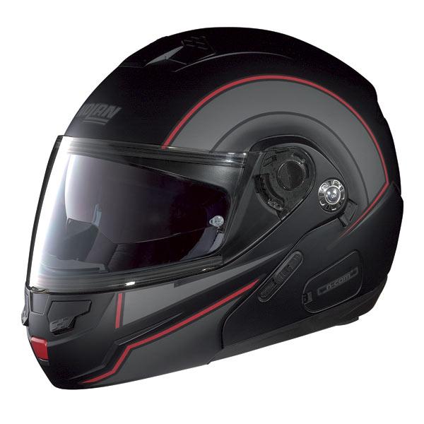 Casco moto Nolan N90 Drive N-com nero opaco-rosso