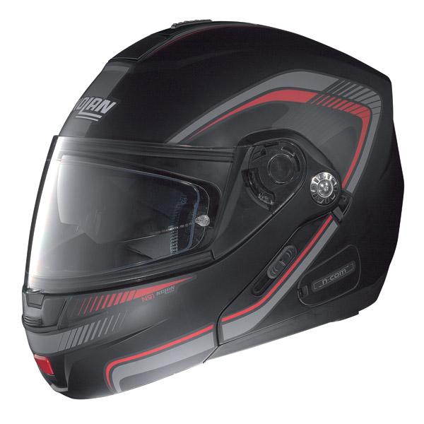 Casco moto Nolan N91 Revenge N-Com nero opaco-rosso