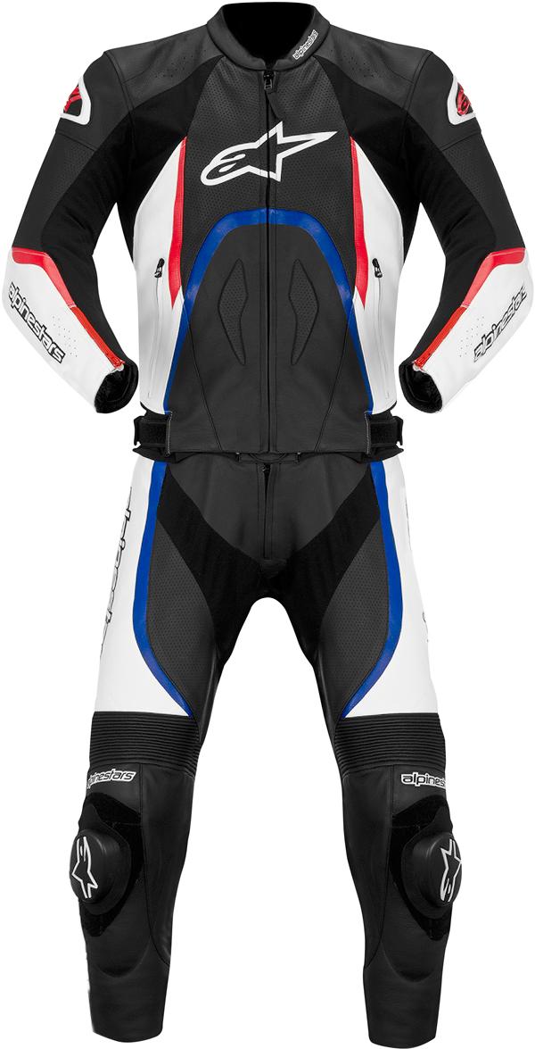 Tuta moto pelle 2pezzi Alpinestars Orbiter nero-bianco-rosso-blu