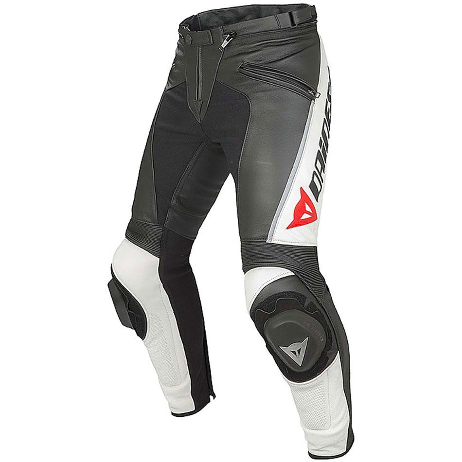 Pantaloni moto pelle Dainese Delta Pro C2 Nero Bianco