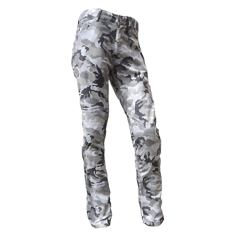 Pantaloni moto Skull mimetici con protezioni Grigio chiaro
