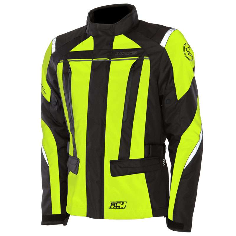 Approved motorcycle jacket Bering Akkor Evo Black Yellow Fluo