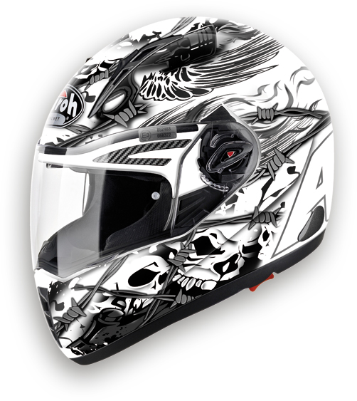Casco moto integrale Airoh Pit One XR Thorns bianco