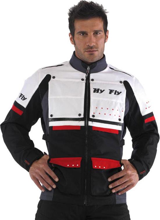 Giacca moto Hy Fly Roma Tex 2 strati Bianco Rosso