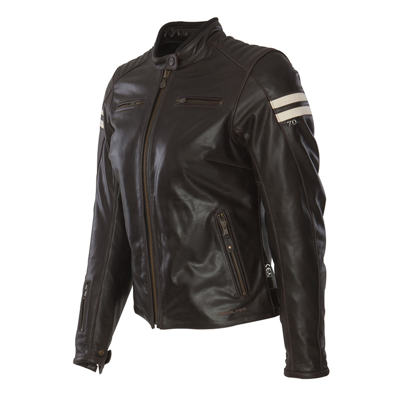 Ladies leather motorcycle jacket Approved Segura Retro Brown Bei