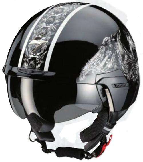Casco moto jet Scorpion EXO100 SKULL Nero-Bianco