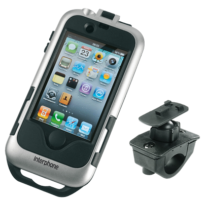 Cellular line for tubular handlebars Iphone4 holder silver