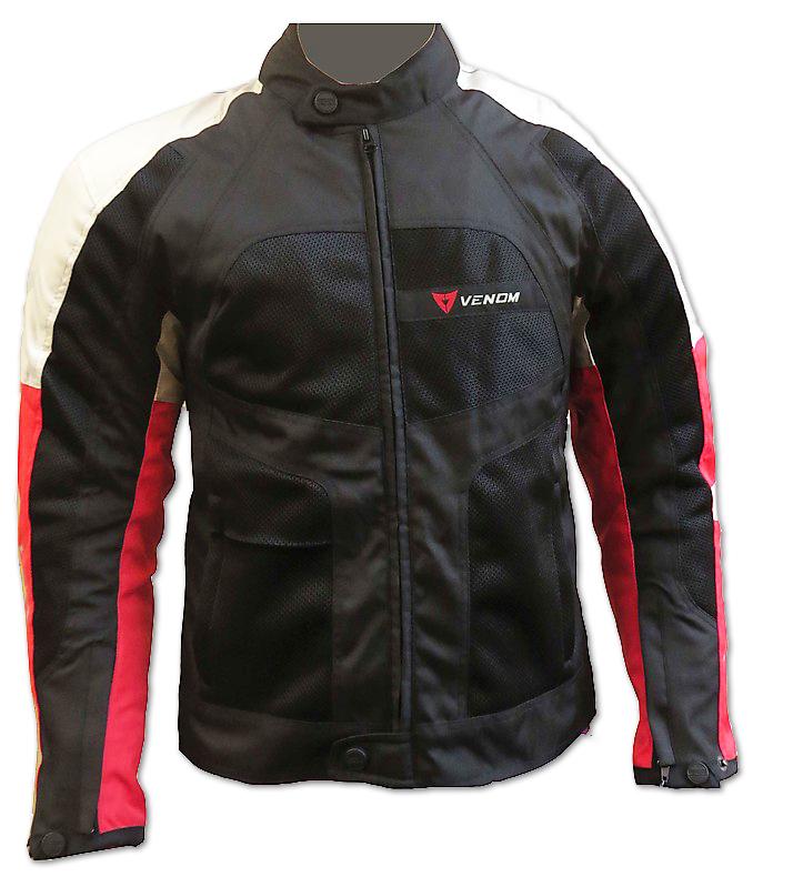 Giubbotto moto Venom Sport Air  tutte le stagioni nero rosso sil