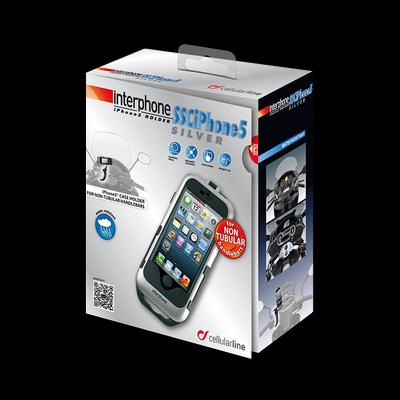 Cellular line for non-tubular handlebars IPhone5 holder silver