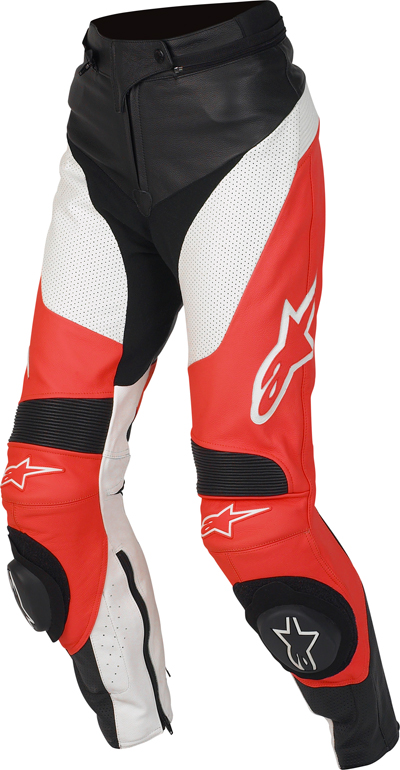 Alpinestars Stella Track leather women pants red
