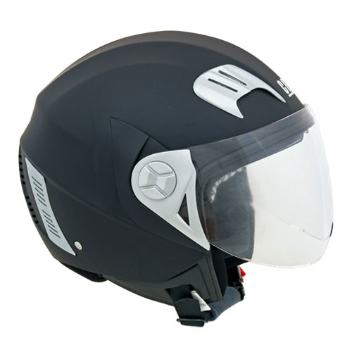 CGM Street jet helmet with sun visor Rubber Black
