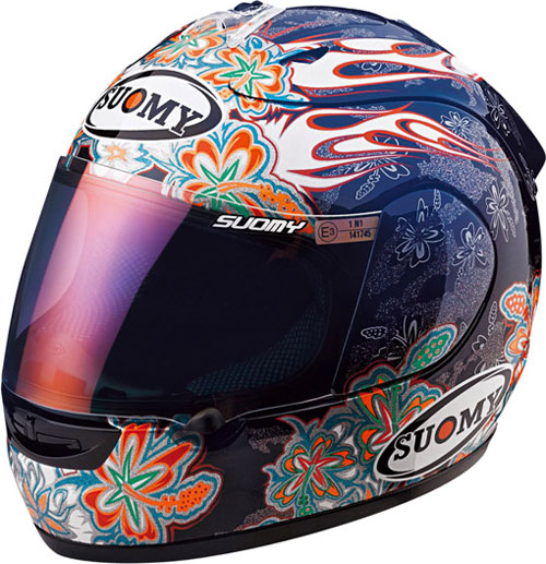 Casco moto integrale Suomy Excel Flowers blu-nero