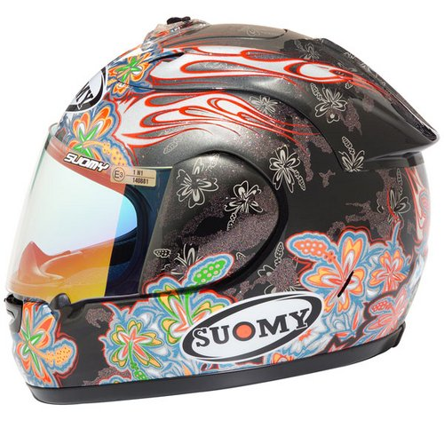 Casco moto integrale Suomy Excel Flowers argento nero