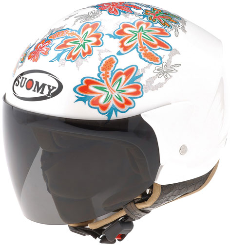 Casco moto Suomy Jet Light Cocco Flower bianco