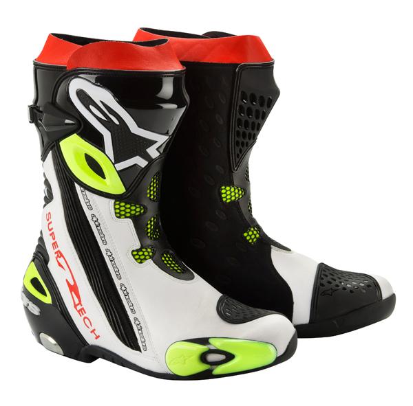Stivali moto racing Alpinestars Supertech R nero-bianco-giallo