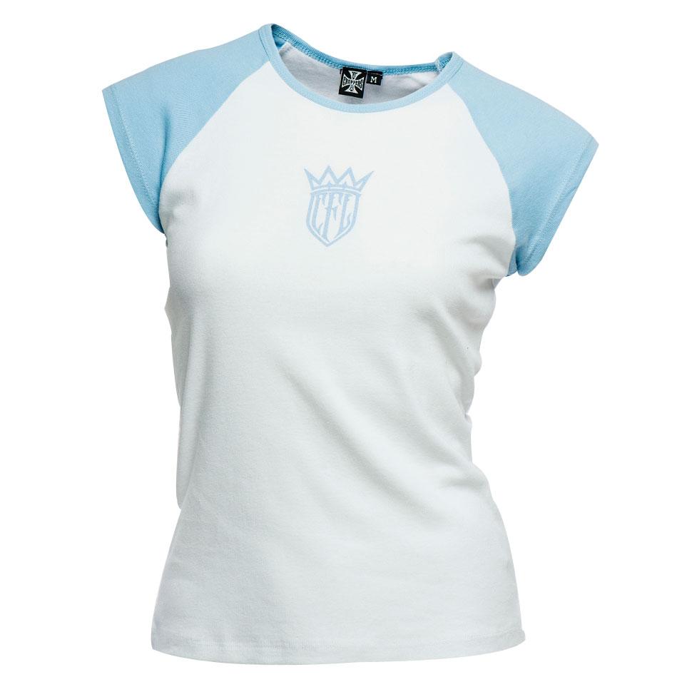 T-shirt donna West Coast Choppers CFL Baseball Bianco Azzurro