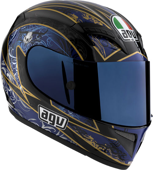 Casco moto Agv T-2 Multi Reach nero-blu