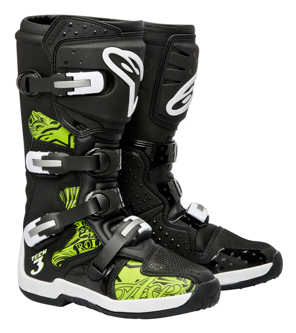 Stivali Off-road Alpinestars Tech 3 nero-verde swrils
