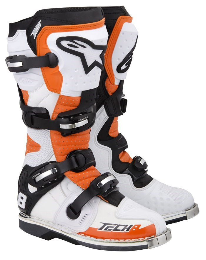 Alpinestars Tech 8 RS offroad boots white orange black vented