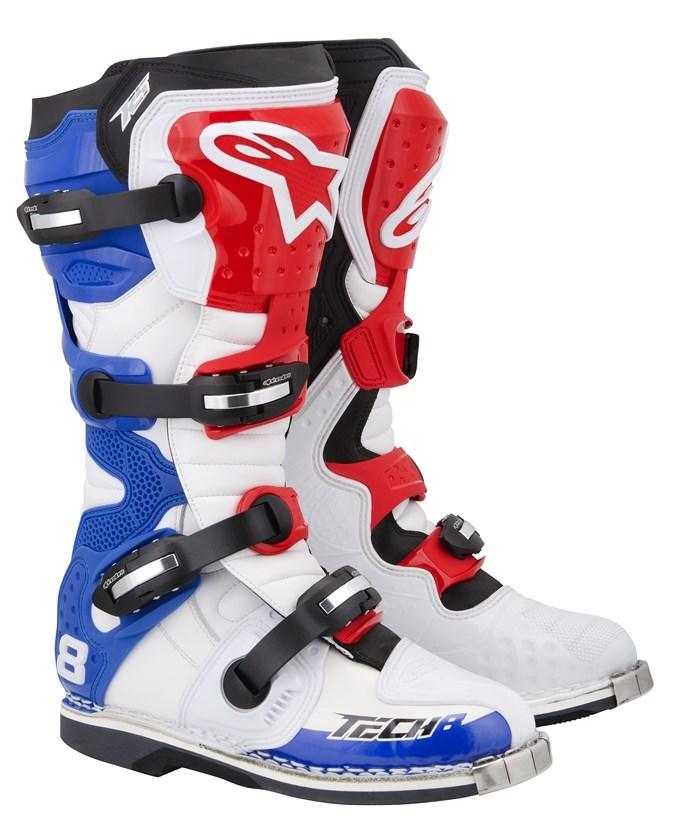 Stivali moto cross Alpinestars Tech 8 RS bianco rosso blu