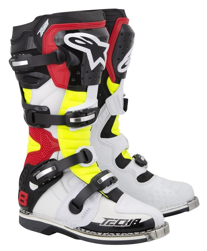 Alpinestars Tech 8 RS offroad boots white yellow fluo red