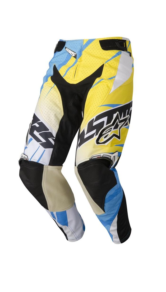 Pantaloni cross Alpinestars Techstar 2014 ciano giallo bianco