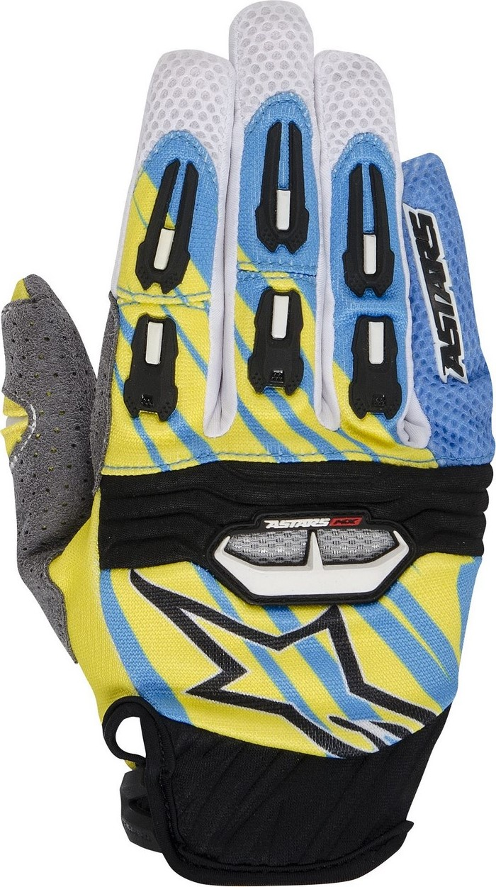 Guanti cross Alpinestars Techstar 2014 ciano giallo bianco