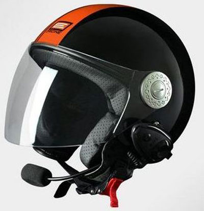 Casco jet Origine Pronto Tony Bluetooth integrato Nero Arancio