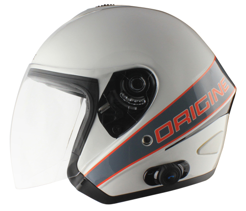 Origine Tornado Maestrale jet helmet with Blinc G2 Gloss White