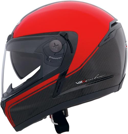 Casco moto Caberg V2X Carbon Edge nero-rosso