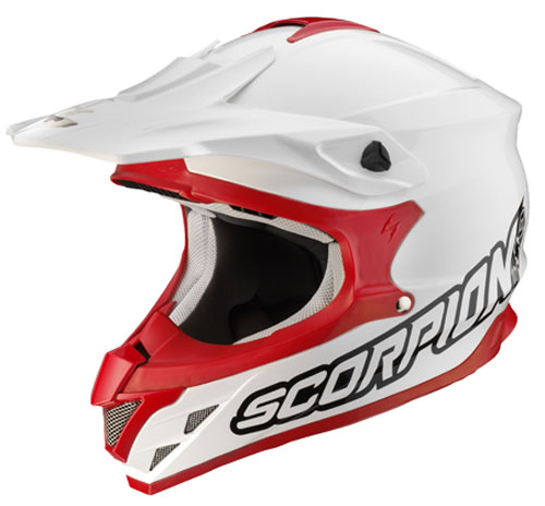 Scorpion VX 15 Air Solid off road helmet White- Red