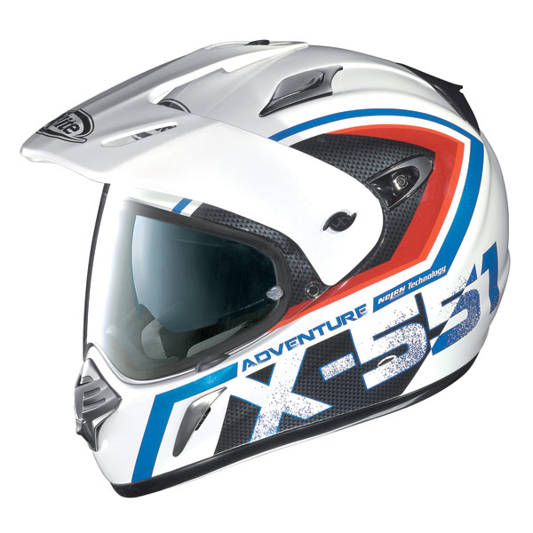 X-Lite X551 Adventure N-Com metal white blue-red enduro helmet