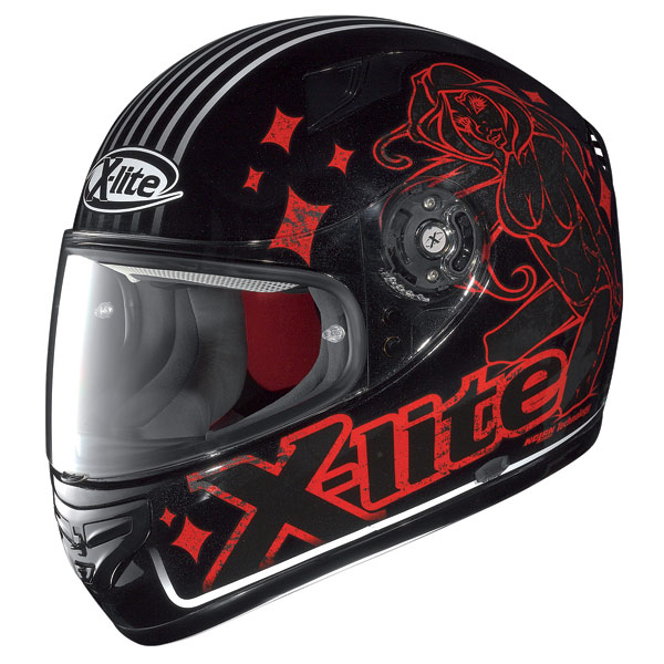 Casco moto X-Lite X-603 Dolly N-Com metal black-rosso