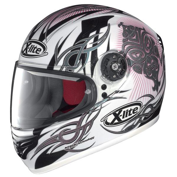 X-lite X-603 Mask N-Com metal white fullface helmet
